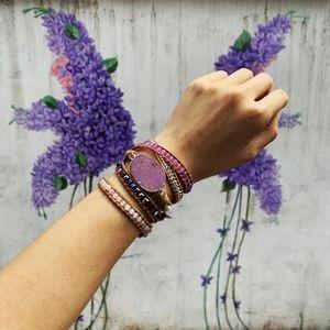 Sea Sediment Stone & Leather Wrap Bracelet